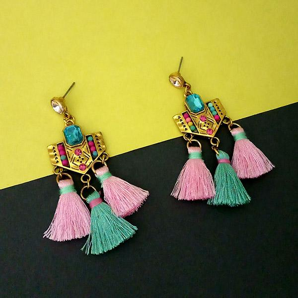 Jeweljunk Multi Austrian Stone Thread Earrings - 1312330D