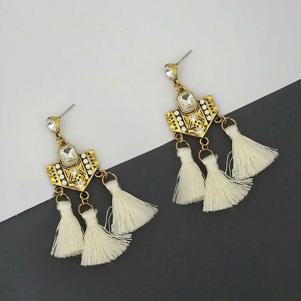 Jeweljunk White Austrian Stone Thread Earrings - 1312330F