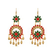 Jeweljunk Red And Green Meenakari Afghani Earrings