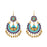 Jeweljunk Gold Plated Blue Meenakari Afghani Earrings