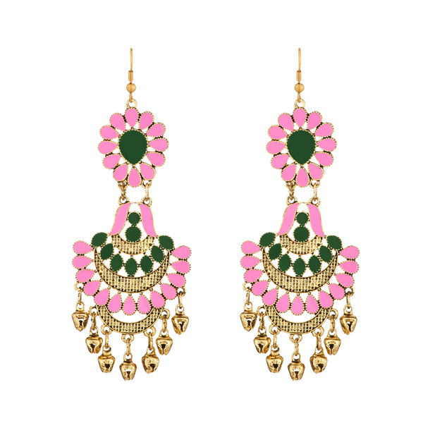 Jeweljunk Pink Meenakari Afghani Earrings