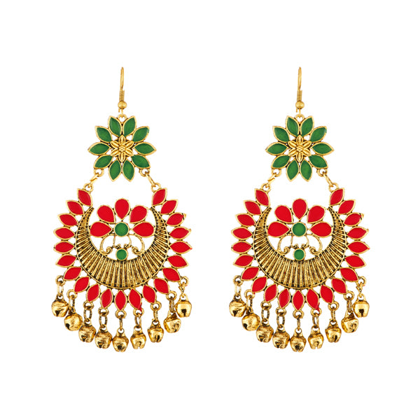 Jeweljunk Red Meenakari Afghani Earrings