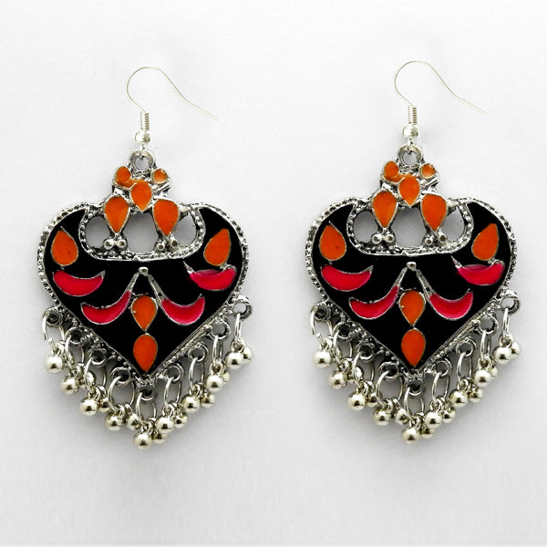 Jeweljunk Rhodum Plated Pink Meenakari Afghani Earrings
