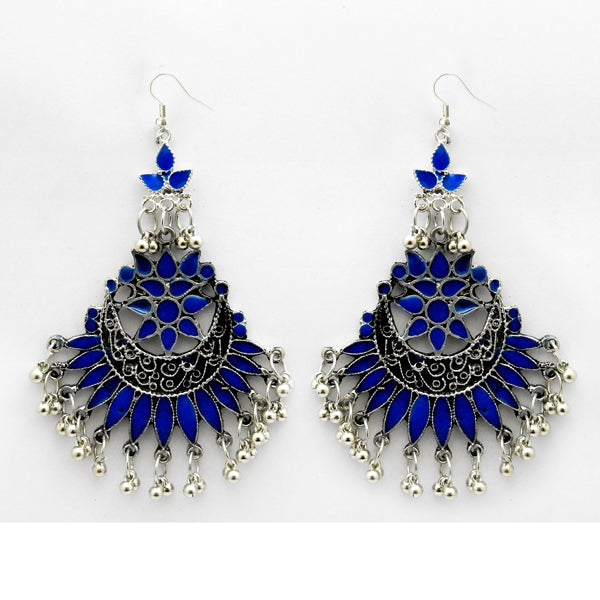 Jeweljunk Blue Meenakari Rhodium Plated Afghani Earrings