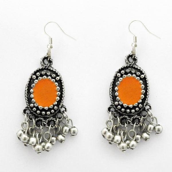 Jeweljunk Rhodium Plated Meenakari Afghani Earrings