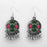 Jeweljunk Green Meenakari Rhodium Plated Afghani Earrings