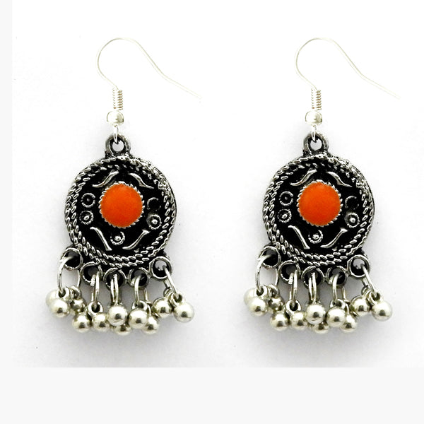 Jeweljunk Black Oxidised Plated Meenakari Afghani Earrings