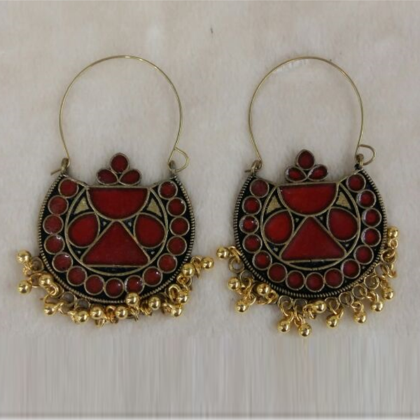 Jeweljunk Meenakari Antique Gold Plated Afghani Earrings