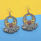 Jeweljunk Yellow And Maroon Silver Plated Meenakari Afghani Earrings