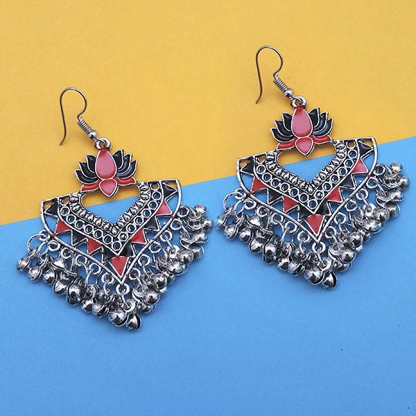 Jeweljunk Blue And Pink Meenakari Afghani Earrings