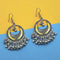 Jeweljunk Yellow Silver Plated Meenakari Afghani Earrings