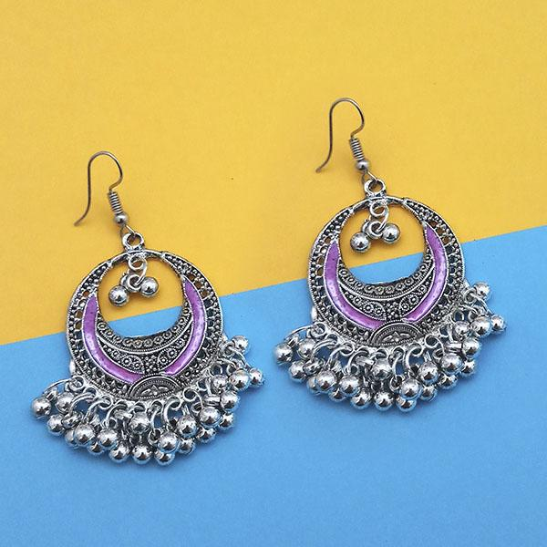Jeweljunk Purple Silver Plated Meenakari Afghani Earrings
