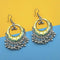 Jeweljunk Yellow And Green Silver Plated Meenakari Afghani Earrings
