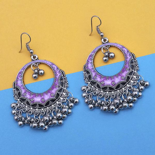 Jeweljunk Purple And Black Silver Plated Meenakari Afghani Earrings