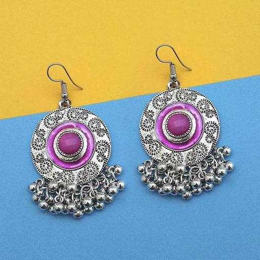 Jeweljunk Pink Silver Plated Meenakari Afghani Earrings