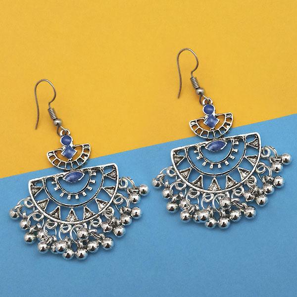 Jeweljunk Blue Silver Plated Meenakari Afghani Earrings