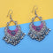 Jeweljunk Purple And Blue Silver Plated Meenakari Afghani Earrings