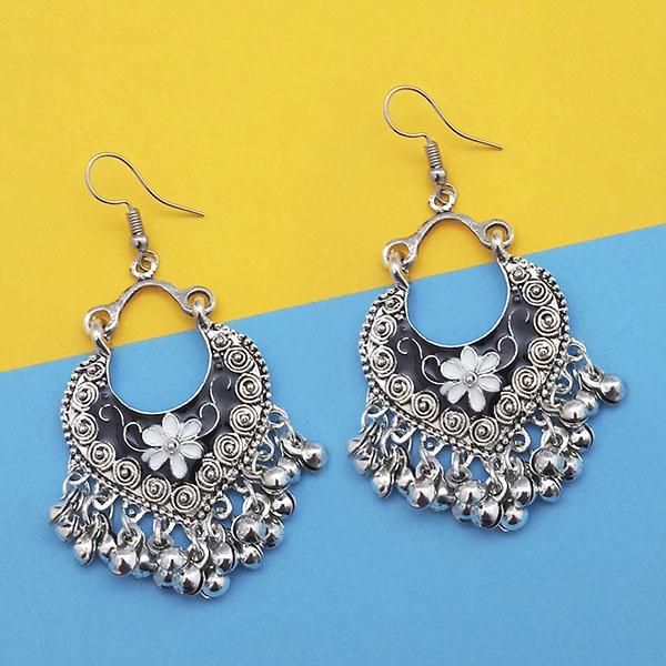 Jeweljunk Black And White Silver Plated Meenakari Afghani Earrings