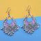 Jeweljunk Purple And Green Silver Plated Meenakari Afghani Earrings
