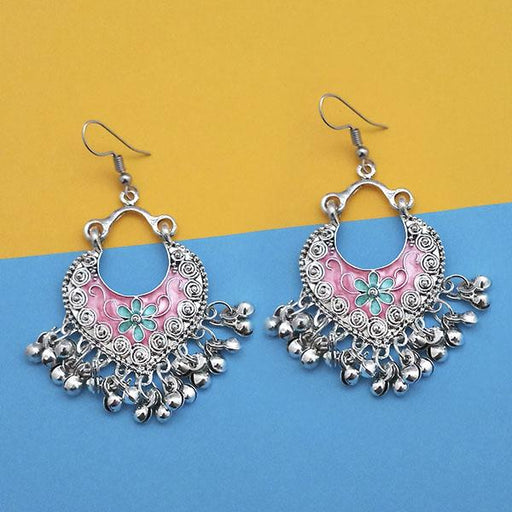Jeweljunk Pink And Green Silver Plated Meenakari Afghani Earrings