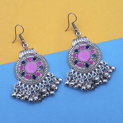 Jeweljunk Pink And Blue Silver Plated Meenakari Afghani Earrings