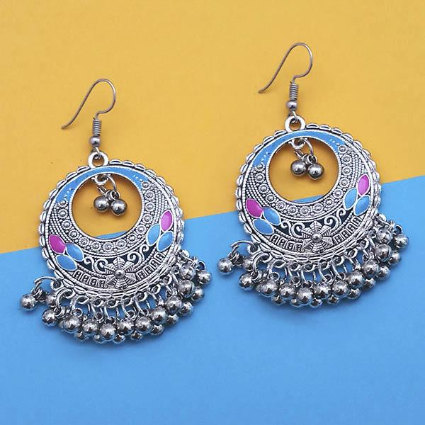 Jeweljunk Blue And Pink Silver Plated Meenakari Afghani Earrings