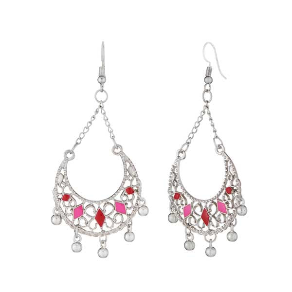 Jeweljunk Rhodium Plated Pink Meenakari Afghani Earrings