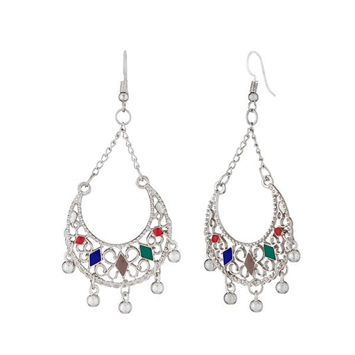 Jeweljunk Multicolor Meenakari Silver Plated Afghani Earrings
