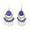 Jeweljunk Rhodium Plated Purple Meenakari Afghani Earrings