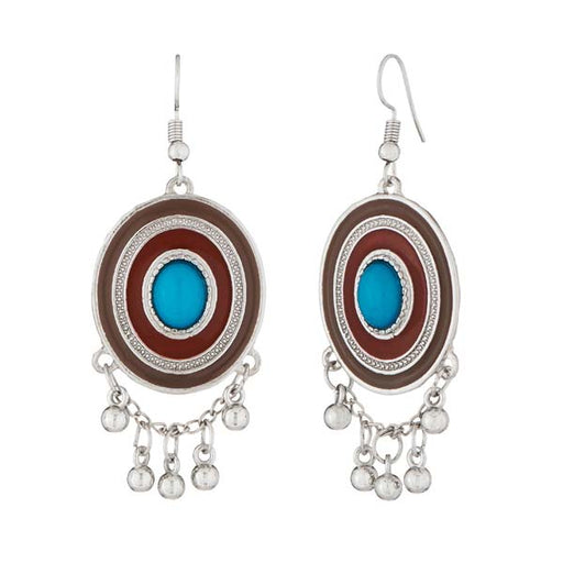 Jeweljunk Rhodium Plated Brown Meenakari Afghani Earrings