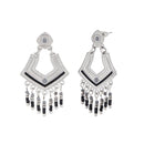 Urthn Black Meenakari Silver Plated Dangler Earrings