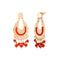 Urthn Red Beads Gold Plated Dangler Earrings