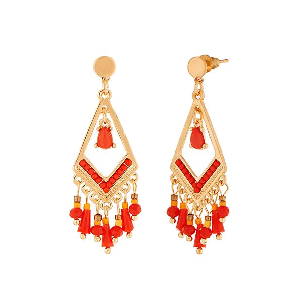 Urthn Red Stone Gold Plated Dangler Earrings
