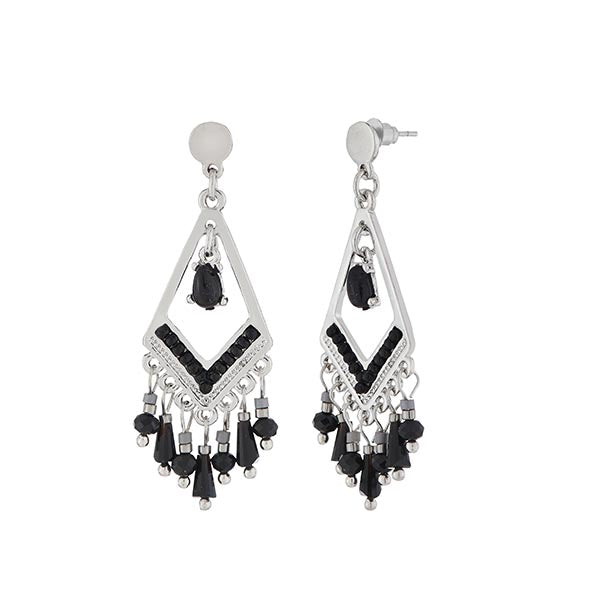 Urthn Black Stone Silver Plated Dangler Earrings