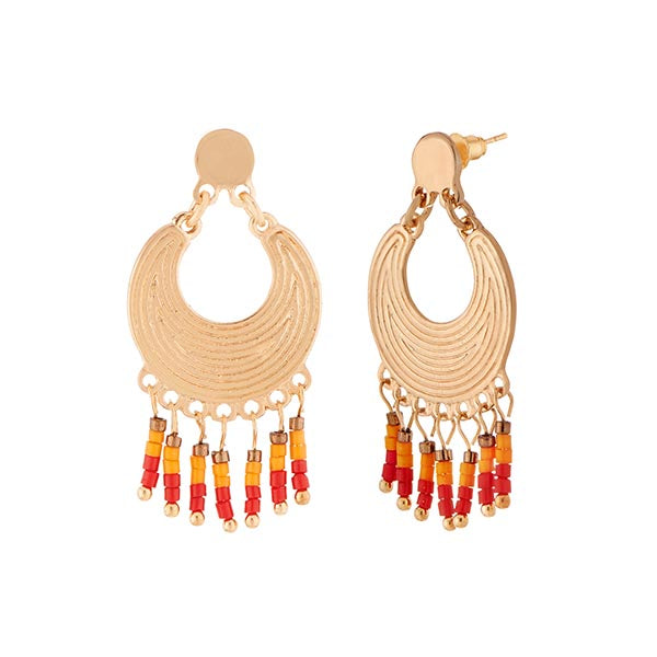 Urthn Yellow And Red Beads Gold Plated Dangler Earrings