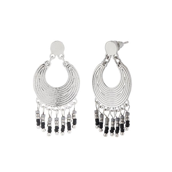Urthn Grey And Black Beads Silver Plated Dangler Earrings