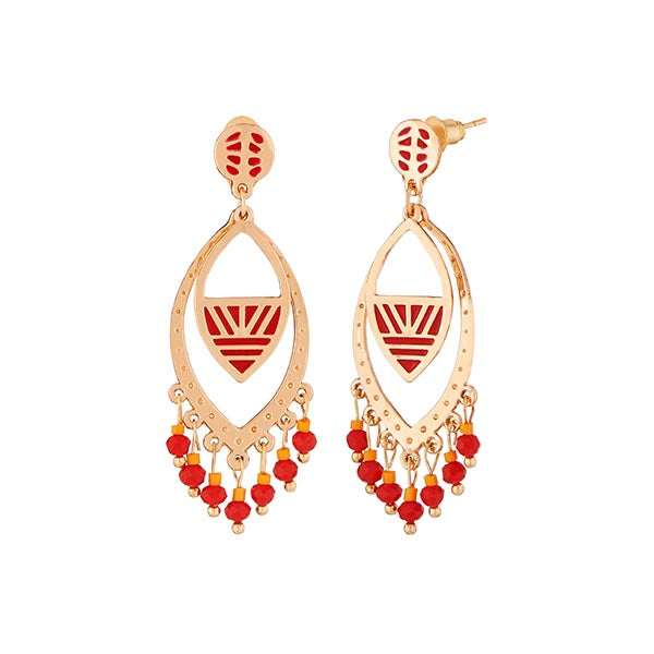 Urthn Red Meenakari Gold Plated Dangler Earrings