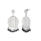 Urthn Black Beads Silver Plated Dangler Earrings