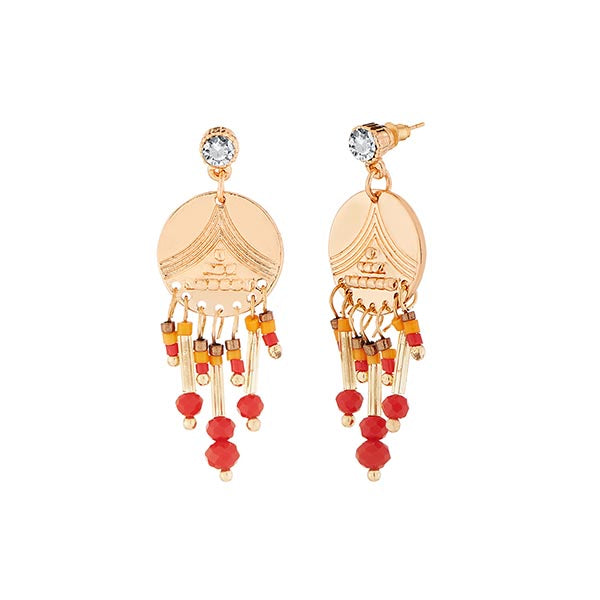 Urthn Austrian Stone Red Beads Dangler Earrings