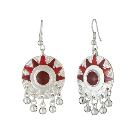 Jeweljunk Maroon Meenakari Rhodium Plated Afghani Earrings