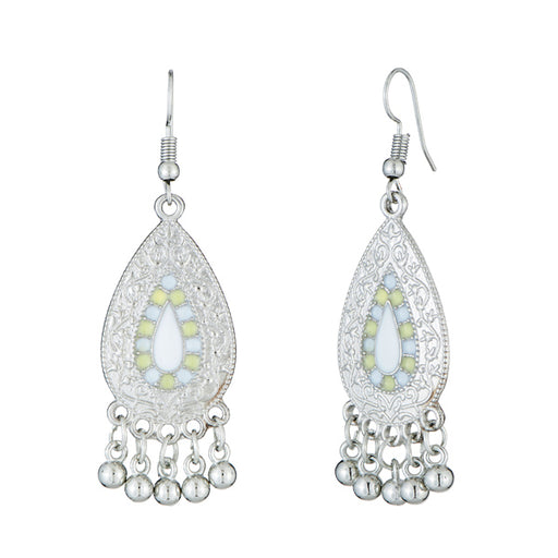 Jeweljunk White Meenakari Rhodium Plated Afghani Earrings