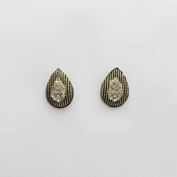 Kriaa Austrian Stone Antique Gold Plated Stud Earrings