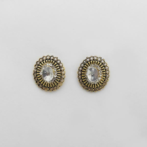 Kriaa Antique Gold Plated Austrian Stone Stud Earrings
