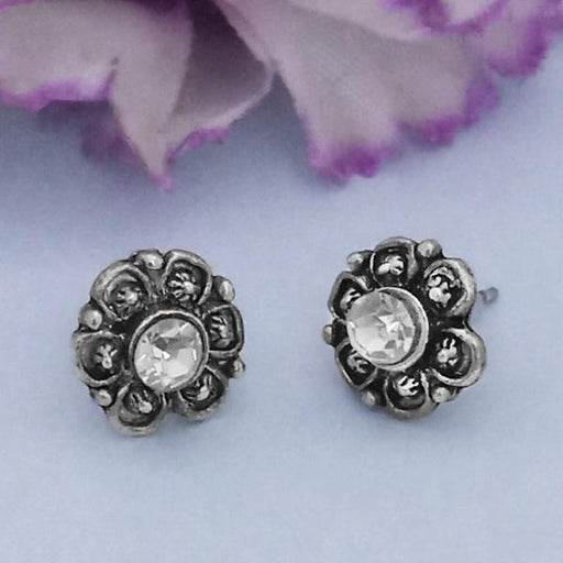 Kriaa Silver Plated White Austrian Stone Stud Earrings - 1312621C