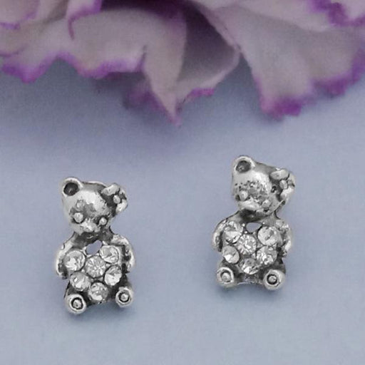 Kriaa Silver Plated White Austrian Stone Stud Earrings - 1312621F