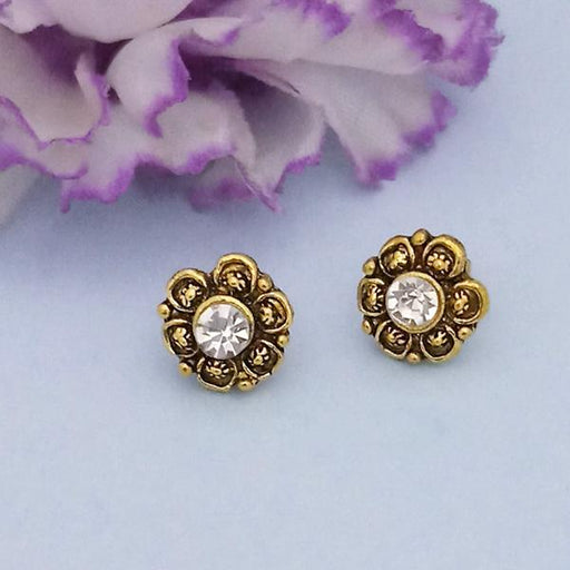 Kriaa Gold Plated White Austrian Stone Stud Earrings - 1312622C