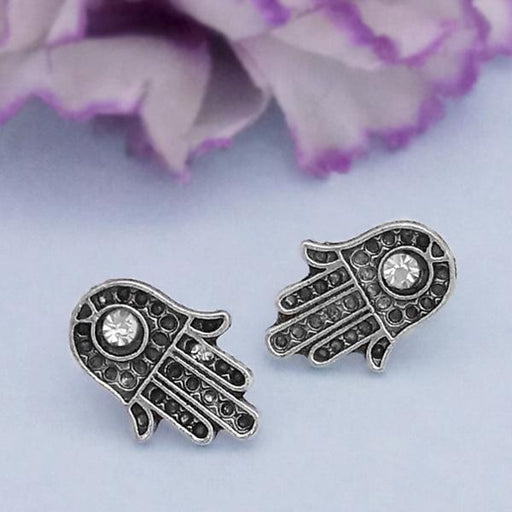 Kriaa Silver Plated White Austrian Stone Stud Earrings - 1312623K