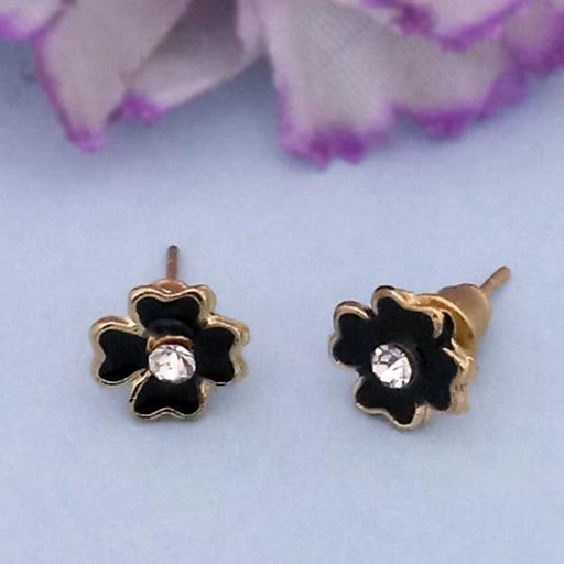 Kriaa Gold Plated White Austrian Stone Stud Earrings - 1312626P