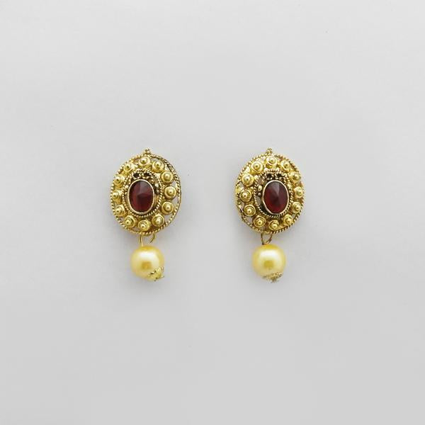 Kriaa Maroon Austrian Stone Gold Plated Stud Earrings
