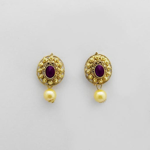 Kriaa Gold Plated Purple Austrian Stone Stud Earrings